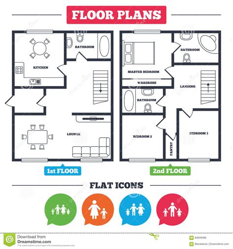 house floor plan symbols family with two children sign parents and kids stock