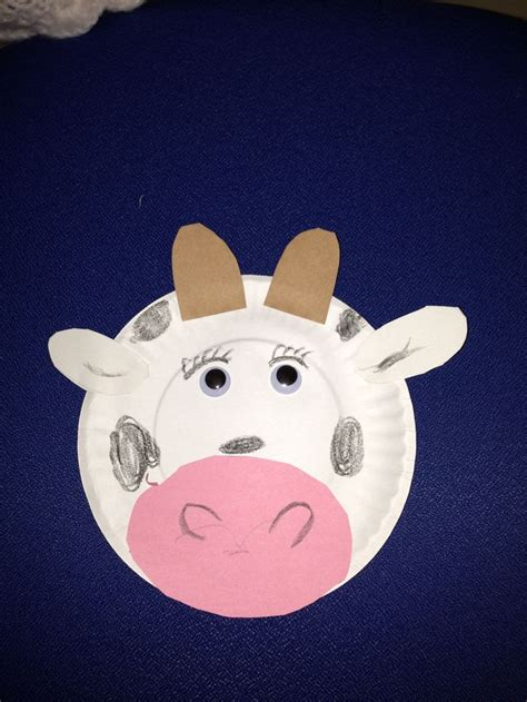 cow paper craft paper plate cow crafts for preschool