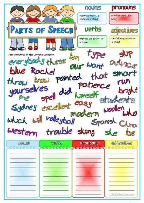 Adjective Noun Verb Worksheet by Parts Of Speech Nouns Pronouns Verbs Adjectives