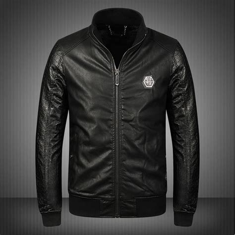 veste philipp plein leather jacket skull motorcycle zipper