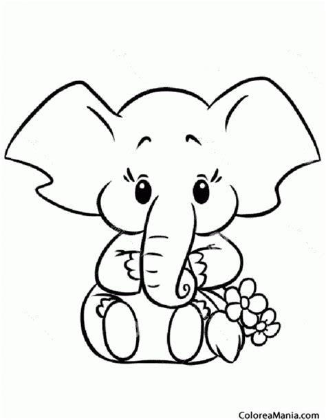 imagenes para colorear elefante colorear elefante pequeo con ramo flores animales de la