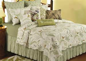 queen coverlets quilts queen quilt set nature butterfly ivory green fern cotton