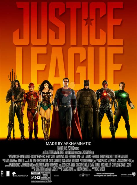 film justice league tentang justice league movie poster by arkhamnatic on deviantart