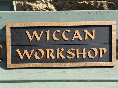 Handcrafted Wood Signs - wiccan workshop handcrafted wooden sign