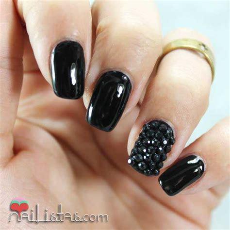 imagenes de uñas negras con plateado u 241 as decoradas en negro charol con piedras nail art
