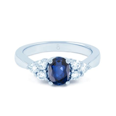 blue engagement rings 18ct white gold blue sapphire vintage engagement
