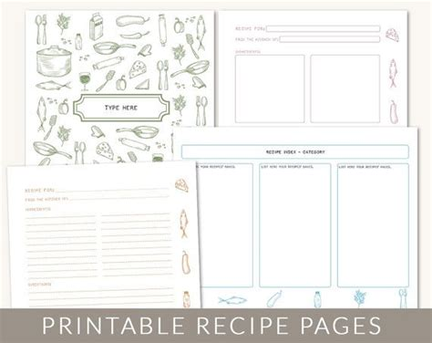 free recipe book templates printable 6 best images of printable cookbook templates cookbook