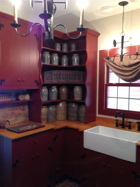 farmhouse interior  primitive kitchen   deep red