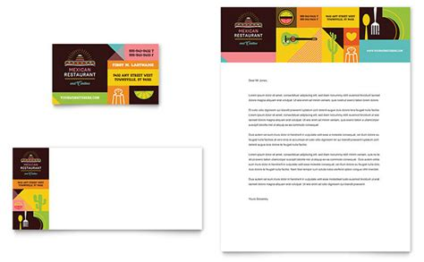 restaurant letterhead templates free mexican food cantina business card letterhead template