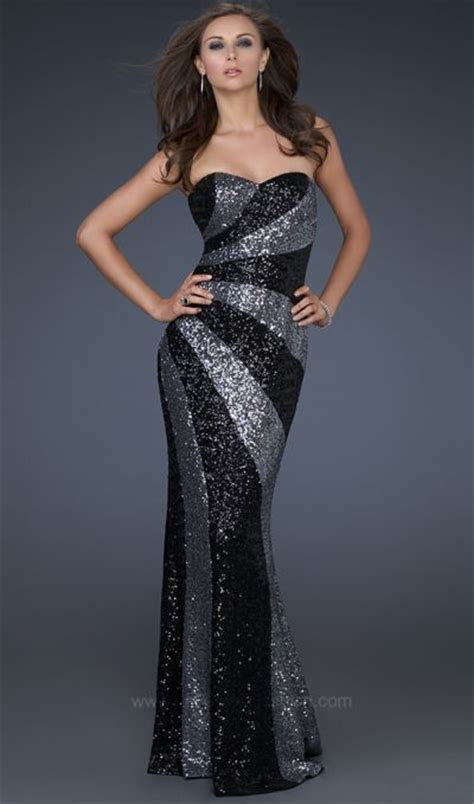 Black And Silver Evening la femme unique black and silver sequin evening dress