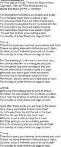 time song lyrics for 10 for one day of turkey there s six days of hash