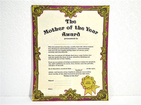 number one gift of the year s day gift large blank of the year award vintage lithograph certificate with