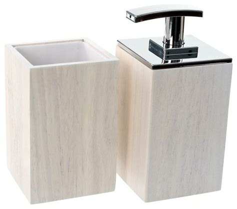 Modern Wood Bathroom Accessories Wooden 2 White Bathroom Accessory Set Contemporary