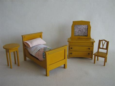 antique 30s dollhouse furniture bedroom set in one inch