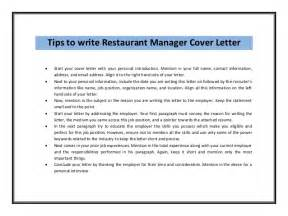 Restaurant Manager Resume Cover Letter by Restaurant Manager Cover Letter Sle Pdf