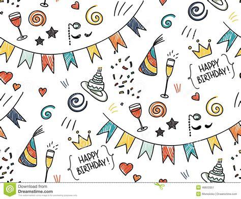 doodle theme seamless doodle pattern birthday theme stock