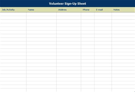 volunteer sign up sheet templates volunteer sign up sheet