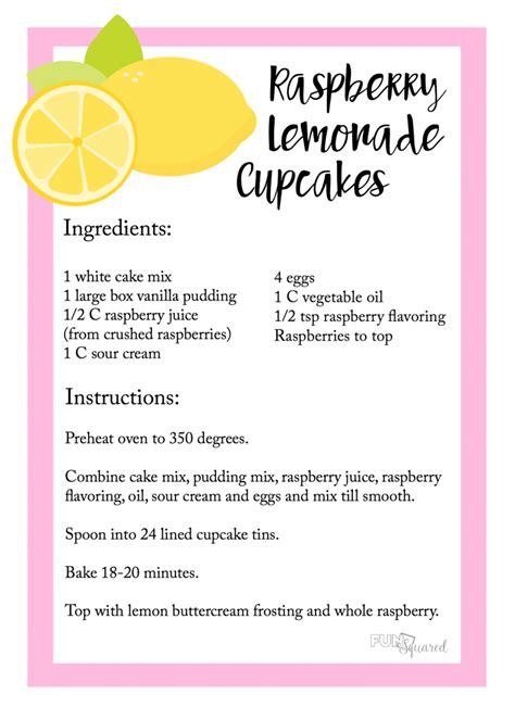 printable lemonade recipes lemonade cupcakes fun squared