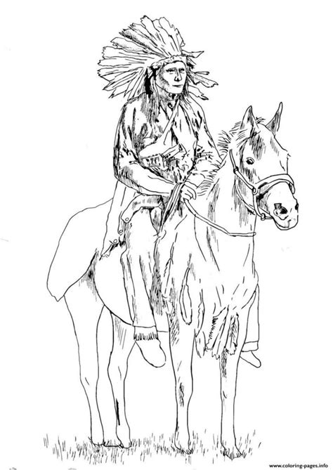 coloring pages print adult native american on his horse