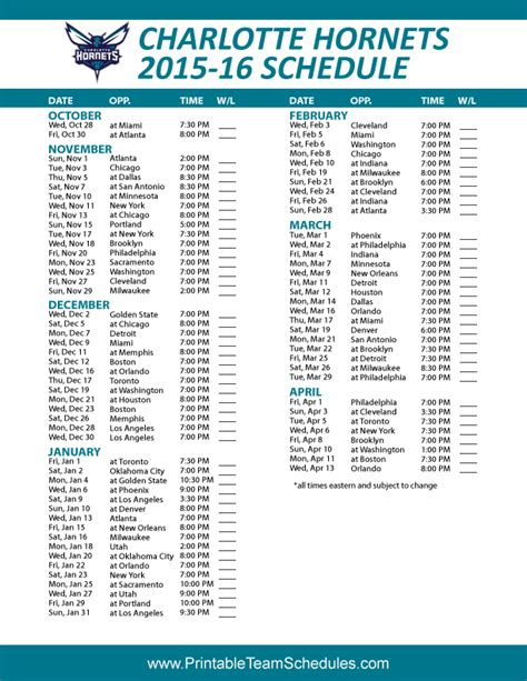 printable hornets schedule charlotte hornets 2015 2016 schedule