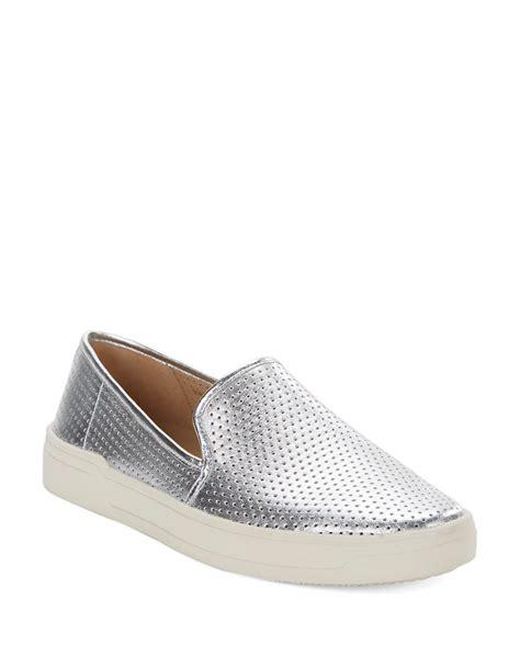 via spiga slip on sneakers via spiga galea5 perforated slip on sneakers in metallic