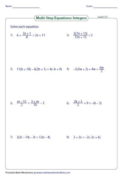 Worksheet Level 2 Answer Key