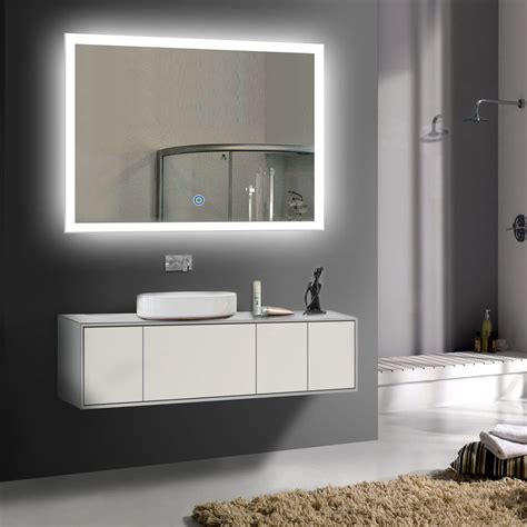 Lighted Bathroom Mirrors Wall Led Bathroom Wall Mirror Illuminated Lighted Vanity Mirror With Touch Button Ebay