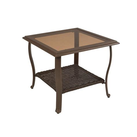 Cedar Patio Table Martha Stewart Living Cedar Island All Weather Wicker Patio Side Table D4035 Ta The Home Depot