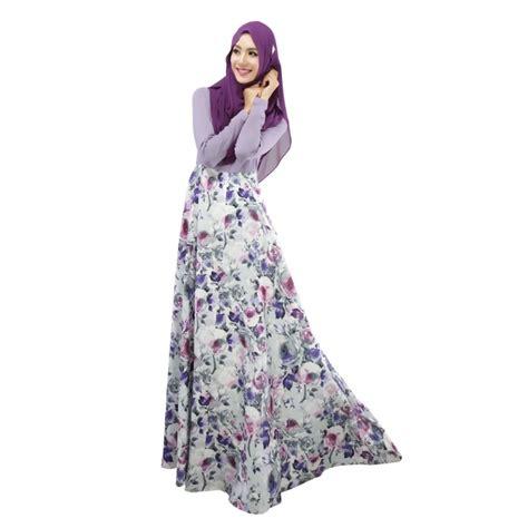 Maxi Dress Muslim Dress Wanita Florist stylish floral kaftan abaya jilbab islamic muslim floral print sleeve maxi dress in