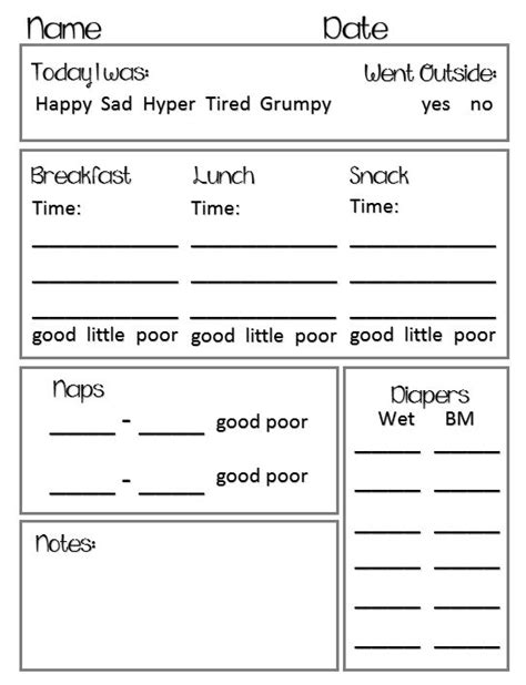 daycare daily report template preschool toddler daily report chart daycare forms
