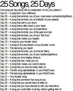 25 songs 25 days 25 a song you could listen to all day and never tire