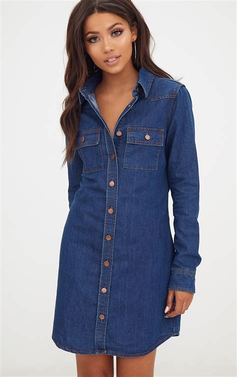 Dress Denim wash button up denim shirt dress denim