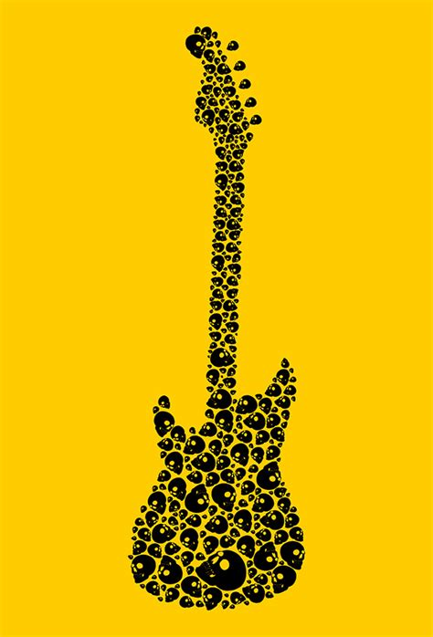 rock music tattoo skull guitar vector art on behance