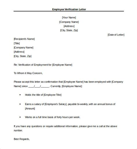 employment verification letter template doc 15 letter of employment templates free sle exle
