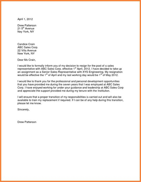Notice Letter For Resignation by 10 Sle Resign Letter One Month Notice Notice Letter