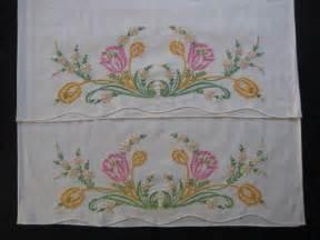 vintage pillowcase set embroidery pillow