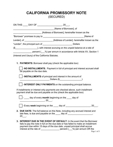 free california secured promissory note template word