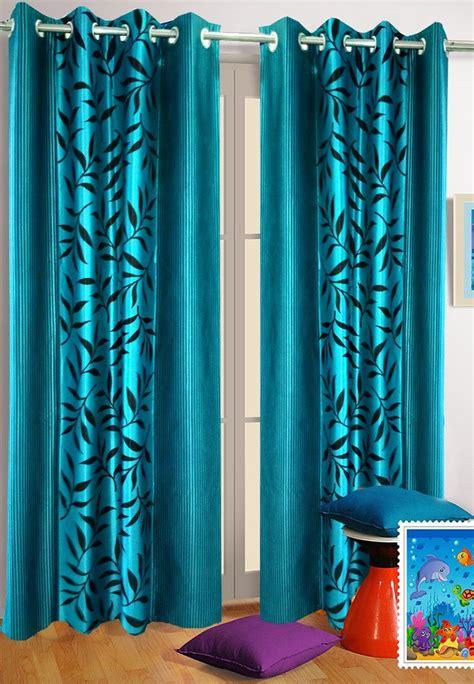 Aqua Blue Curtains Buy Homefab India Set Of 2 Kolaveri Aqua Blue Curtains Hf356 Lascuola