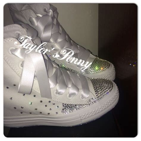 Wedding Sneakers by S Wedge Converse Crystallized With Swarovski
