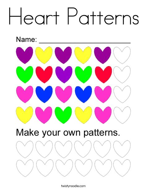 heart pattern color heart patterns coloring page twisty noodle