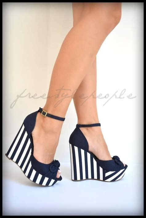 new navy blue white corra wedges striped