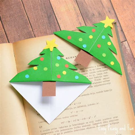 Folded Paper Corner Bookmark - tree corner bookmarks origami for easy