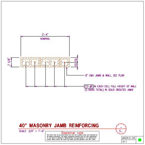 ma04 0 masonry jamb details for 8 inch masonry walls