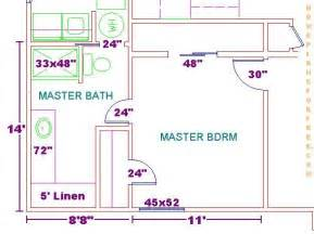 Master Bedroom And Bathroom Floor Plans by Floor Plan For A 8x14 Bath And 11x13 Bedroom House