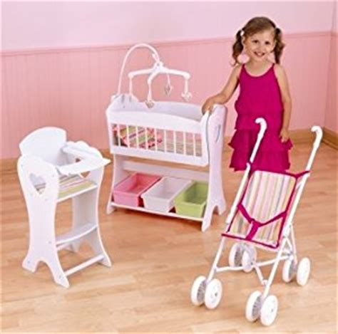 Baby Doll Crib And Highchair Kidkraft Care 3 Doll Furniture Set Crib High Chair And Stroller