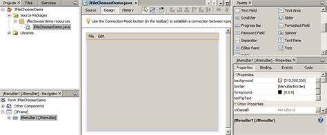 main menu layout java adding a file chooser to a java application