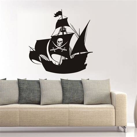 ship decor home ship decal pirate ship with skull flag vinyl wall sticker