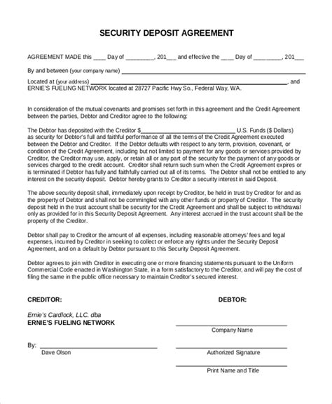 Agreement Letter For Deposit Sle Security Deposit Form 10 Free Documents In Pdf