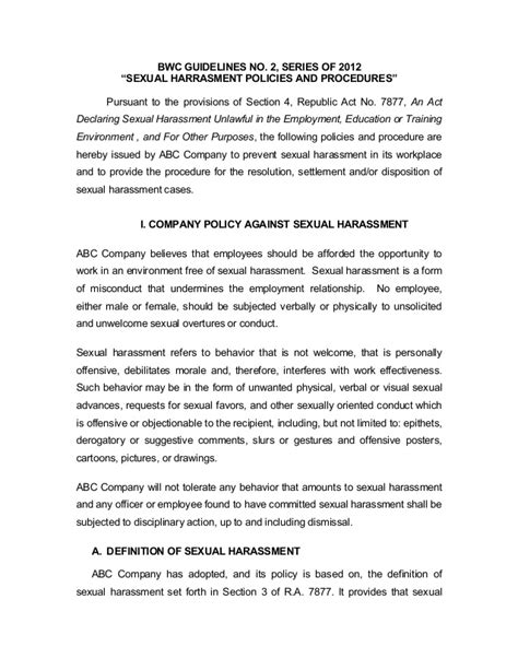 section 2 harassment sexual harassment company policy form