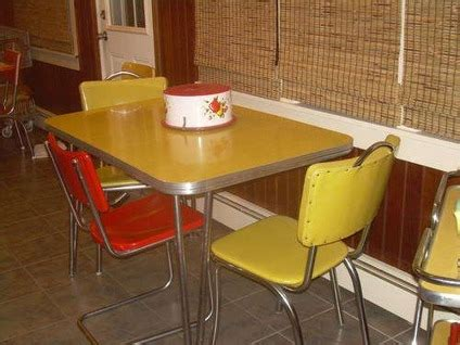 yellow retro kitchen table chairs home decor interior